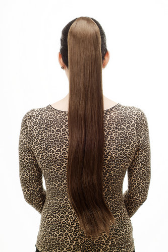 Hairpiece PONYTAIL with Claw Clamp/Clip extremely long straight & smooth medium brown T113-10 70 cm