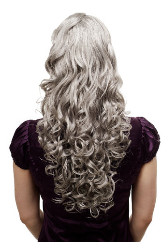 Hairpiece PONYTAIL extension long MASSIVE volume curly AMAZING curls kinks silver grey gray 23""