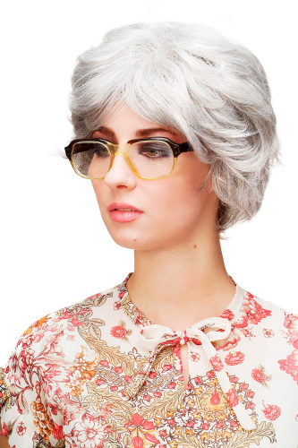 TYW60286-51 Lady Quality Wig short voluminous wild teased silvery grey