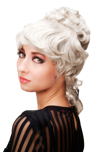 Historic Lady Quality Wig Baroque Victorian Colonal Era Beehive ringlets curled grey gray