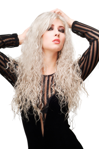 Sexy Witchy Lady Quality & Cosplay Wig very long wild kinked kinks curls curled light grey gray 27""