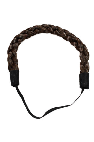 YZF-3080-2T30 Hairpiece braided plaited hair braid hairband Alice band chestnut brown mix