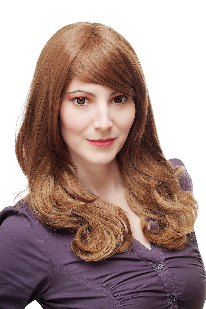 Lady Quality Wig Long Straight Wavy Ends Mixed Light Brown Blond