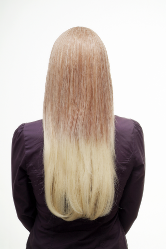 Lady Quality Wig Gorgeous Straight Ombre Style Mix Dark Blond Platinum Long Fringe Parted To Side
