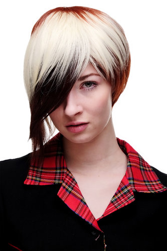 Lady or Men Quality Wig Cosplay short Page Bob 3 coloured red brown platinum long parted fringe