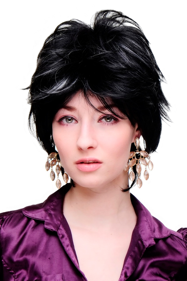 Lady Quality Wig Cosplay Short Spikey Backombed Wild Black With