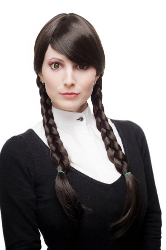 Lady Quality Wig fringe bangs parted to side two long braided pigtails braids darkbrown School Girl