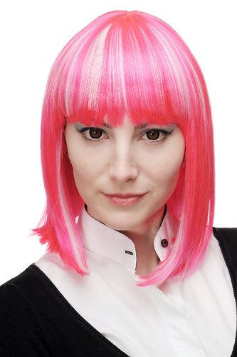 Lady Quality Wig Cosplay short Page Bob Longbob pink white strands bangs fringe Punk Emo Goth