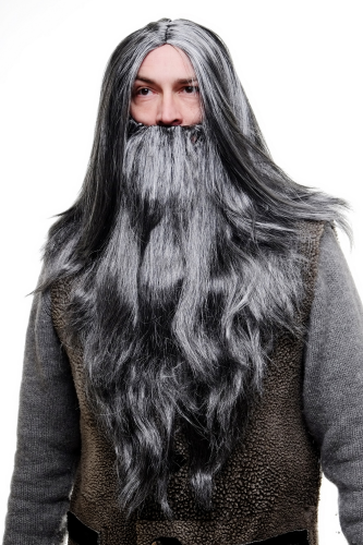 WIG ME UP - Party/Fancy Dress/Halloween LONG Beard & WIG set Grey Wizard Old Biker