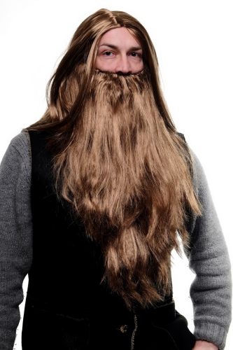 WIG ME UP - Party/Fancy Dress/Halloween LONG Beard & WIG set Brown Wizard Biker