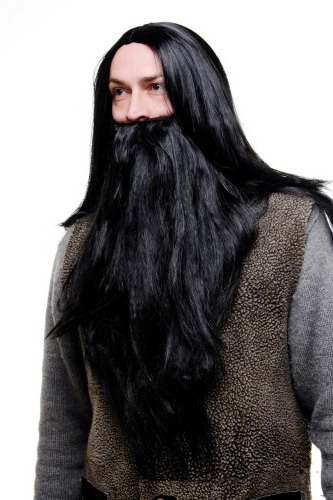 Party/Fancy Dress/Halloween LONG Beard & WIG set Black Wizard Biker Teuton Hun