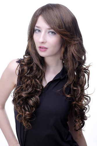 Lady Quality Wig dark brown mix mahogany very long straight top top with slight curls