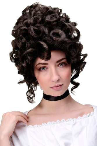 Lady Quality Wig Theatre Renaissance Baroque Rococo Beehive Marie Antoinette chocolate brown