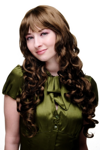 Lady Quality Wig long straight top with beautful curling ends medium BROWN cute bangs fringe