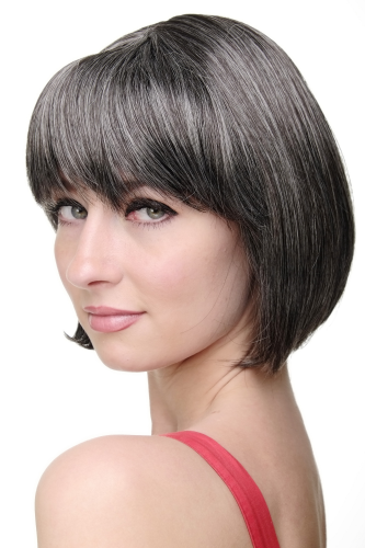 Lady Quality Wig short Page Bob fringe bangs dark brown and grey streaks dark grey 703-44