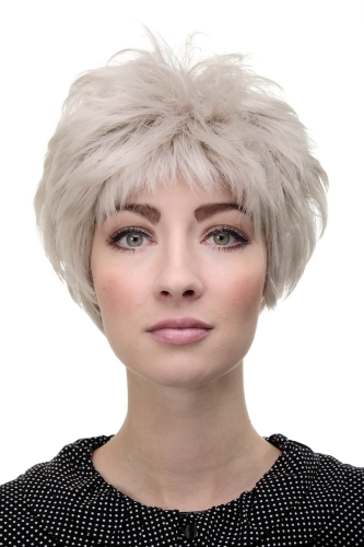 Lady Quality Wig short volume silver white & grey hair older woman voluminous backcombed