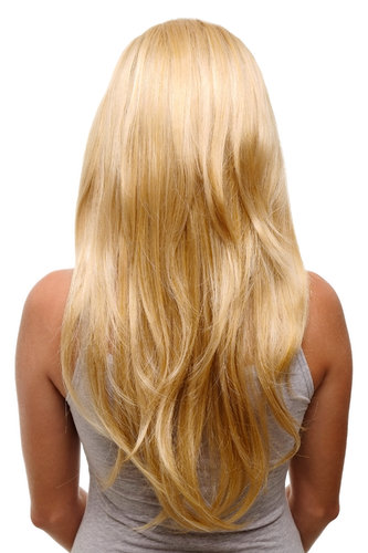 Hairpiece Halfwig 7 Microclip Clip-In Extension curls long & full mixed blond bright blond ends