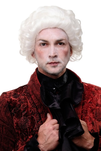 Quality historic Wig Dancy Dress Theatre white curls Men Aristocrat Baroque Renaissance Casanova