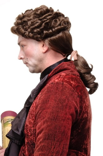 Quality Wig for Man Men Gents Theatre Renaissance Baroque Casanova curls ponytail Aristocrat brown