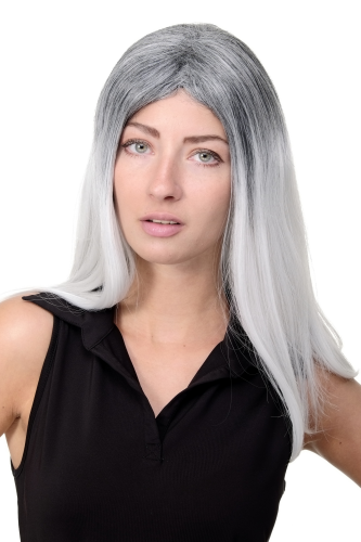 Awesome Lady Quality Wig long straight hair black grey white ombre middle parting Emo Goth Cosplay