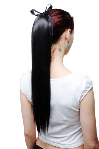Hairpiece PONYTAIL extension long straight very light with ribbon and comb wrap around system black