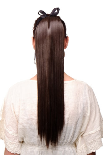 Hairpiece PONYTAIL extension long straight light with ribbon and comb wrap around system chocolate