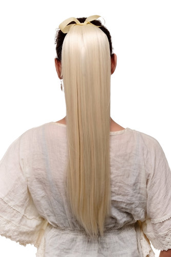 Hairpiece PONYTAIL extension long straight very light with ribbon and comb wrap around system blond