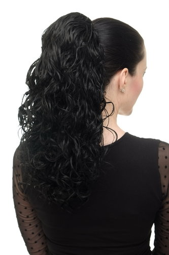 Hairpiece Ponytail with 2 combs/clips & elastic draw string long full curls voluminous black 18""