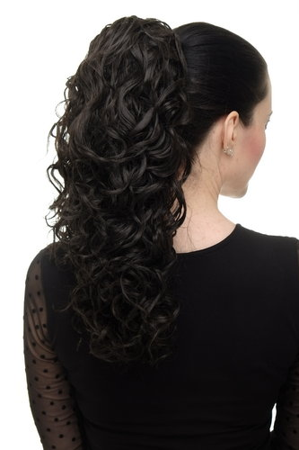 Hairpiece Ponytail with 2 combs/clips & elastic draw string long full curls voluminous dark brown