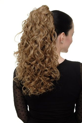 Hairpiece Ponytail with 2 combs/clips & elastic draw string long full curls voluminous honey blond