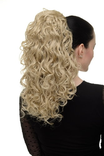 Hairpiece Ponytail with 2 combs/clips & elastic draw string long full curls voluminous ash blond