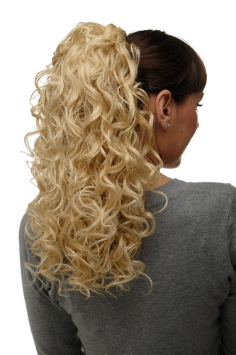 Hairpiece Ponytail with 2 combs/clips & elastic draw string long full curls voluminous golden blond