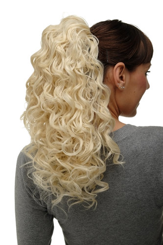 Hairpiece Ponytail with 2 combs/clips & elastic draw string long full curls voluminous platinum