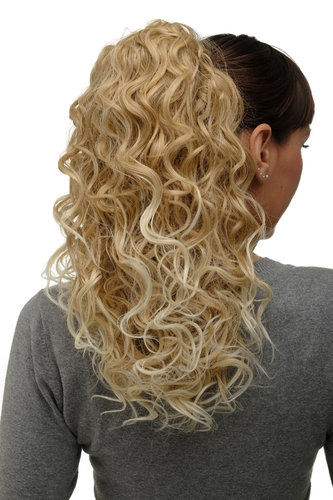 Hairpiece Ponytail with 2 combs/clips & elastic draw string long curls voluminous blond + platinum