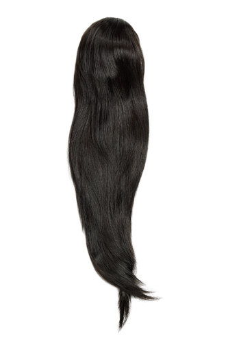 Hairpiece micro clamp, combs, elastic draw string straight voluminous very long dark brown 23 ""