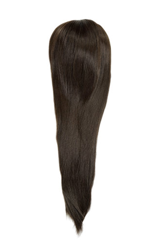 Hairpiece micro clamp, combs, elastic draw string straight voluminous long chocolate brown 23 ""