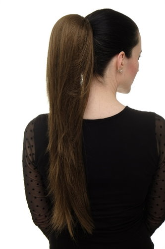 Hairpiece micro clamp, combs, elastic draw string straight voluminous very long medium brown 23 ""