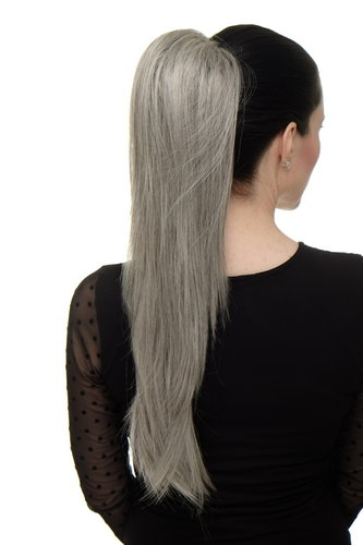 Hairpiece micro clamp, combs, elastic draw string straight voluminous long slivery gray grey 23 ""