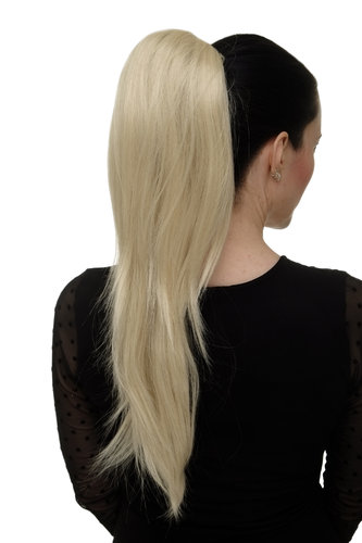 Hairpiece micro clamp, combs, elastic draw string straight voluminous long very bright blond 23 ""