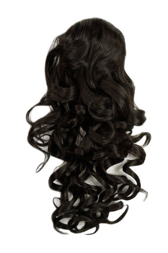 Hairpiece PONYTAIL with combs and elastic draw string curly voluminous very long dark brown 23 ""