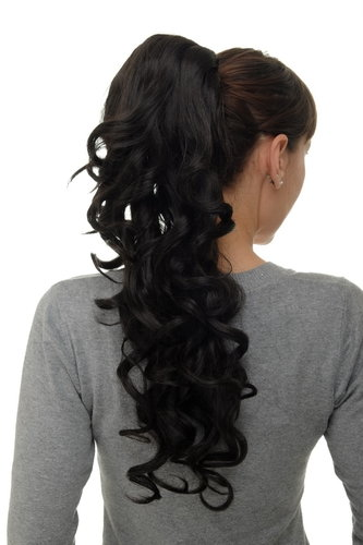 Hairpiece micro clamp, combs, elastic draw string curly curls voluminous very long dark brown 23""