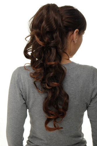 Hairpiece micro clamp combs elastic draw string curly curls voluminous long chestnut brown mix 23""