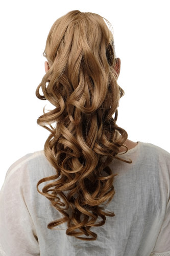 SA09-26C Hairpiece PONYTAIL extension VERY long BEAUTIFUL wavy slightly curly curls dark blond 20""