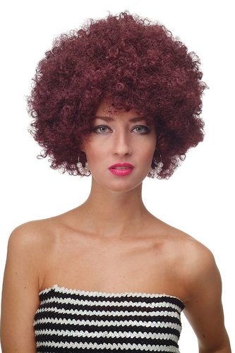Party/Fancy Dress/Halloween WIG gigantic super volume aubergine RED disco AFRO funky huge HAIR!