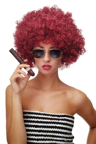 Party/Fancy Dress/Halloween WIG gigantic super volume futuristic garnet RED disco AFRO funky HAIR!