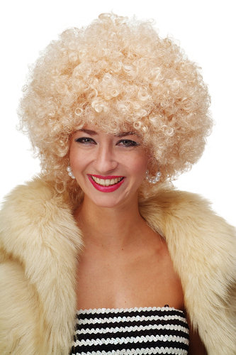 Party/Fancy Dress/Halloween WIG gigantic super volume BRIGHT BLOND disco AFRO funky huge HAIR!