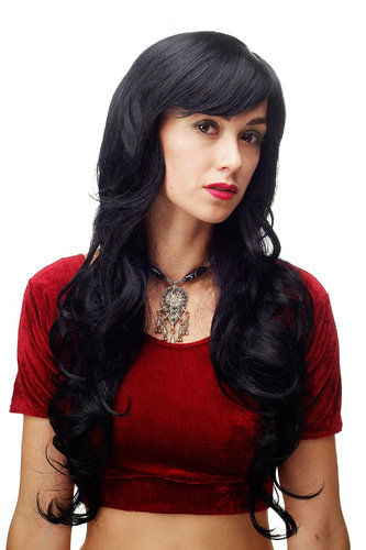Stunning Lady Quality Wig very long wavy long fringe (for side parting) deep black raven 27,5 inch