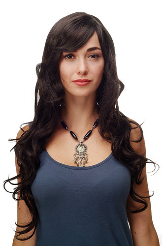 Stunning Lady Quality Wig very long wavy long fringe (for side parting) dark brown 27,5 inch