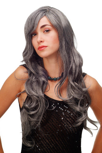 Stunning Lady Quality Wig very long wavy long fringe (for side parting) dark grey gray 27,5 inch