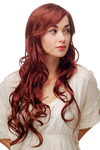 Stunning Lady Quality Wig very long wavy long fringe (for side parting) redbrown reddish brown